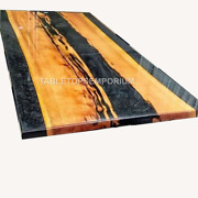 Epoxy Black Resin River Dining Table   Custom River Table Epoxy Table For Her