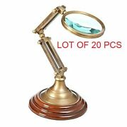 Antique Handmade Brass 4and039and039 Magnifying Glass W/ Wooden Base Desk Magnifier Decor