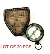 Nautical Map Reader Captain Cabin Compass With Magnifying Glass In Leather Case