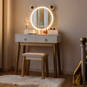 Vanity Dressing Table Set Touch Screen Dimming Mirror W/bluetooth Speakers