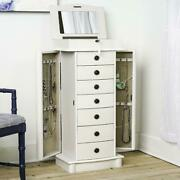 8-drawer Wooden Jewelry Armoire Freestanding Lockable Mirrored Lid White Sturdy