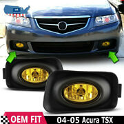 For 2004-2005 Acura Tsx Yellow Bumper Driving Fog Lights Lamps Pair+bulbs+switch