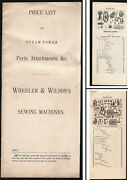 Orig. Ca. 1895 Catalogue Of Parts For Wheeler And Wilson Steam Sewing Machines