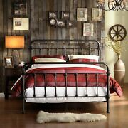 Full Size Bed Vintage Antique Iron Style Metal Headboard Footboard Frame Bronze