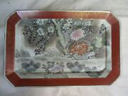 Vintage Huge Hand Painted Japanese Decorative Serving Tray Platter Preowned