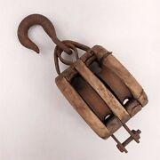 Wooden Double Pulley Block And Tackle Door Stop Farmhouse Cabin Vintage