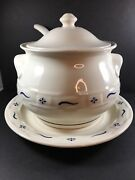 Longaberger Pottery 4 Pc. Soup Tureen Woven Traditions In Classic Blue