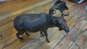 Vintage Leather Moose Statue 20 X 20 Great For Office Mancave Cabin Country