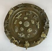 Antique Brass India Tibet Zodiac Hindu Deity Gods Charger Footed Plate