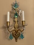 Pair Antique Sterling Bronze New York Crystal 2 Arm French Wall Sconces 19andrdquo Blue