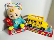 Cocomelon Jj Plush Doll And Musical Yellow School Bus With Jj Figure Bundle