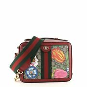 Ophidia Zip Around Camera Bag Flora Gg Coated Canvas Small