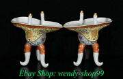 6 Marked Old Chinese Wucai Porcelain Gilt Dynasty Palace Horn Cup Wine Glass