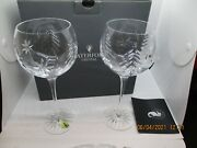Waterford Christmas Nights Set Of Two 12 Oz Wedge Cut Balloon Wine Glass--r4r3
