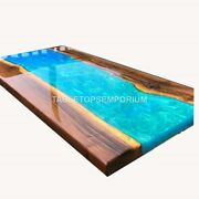 Olive Acacia Wood Table Blue Resin Epoxy River Table Resin Dining Table Decor