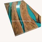 Spalted Maple Bar Top With Acacia Wood Epoxy Green Resin River Topcoat Furniture