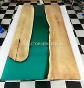 Epoxy Conference Custom Big Table Acacia Wooden Green Resin River Office Decor