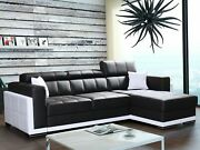 New Modern Corner Sofa Bari 1 Faux Leather Storage Pull Out Bed Left Or Right