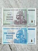 Zimbabwe 50 And 100 Trillion Dollar Note Unc Aa Serial One Hundred Uncirculated