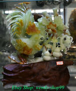 17 Chinese Natural Xiu Jade Carving Feng Shui Cock Rooster Flower Statue
