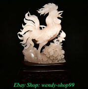 16 Old Chinese Pink Xiu Jade Carving Feng Shui Cock Rooster Flower Statue