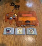 Nintendo 64 Launch Edition Fire Orange Console. Bundled With 3 Great Games.