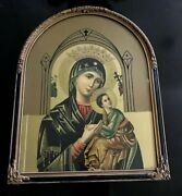 Antique Carved Arched Frame With Madonna And Child Religious Print 18 X 15