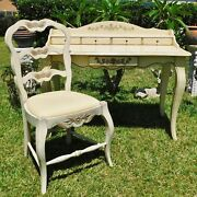 Beautiful Antique/vtg 47 Ivory Wood Carved Writing Desk And Ladderback Chair