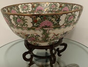 Antique Vintage Chinese Porcelain Glazed Hand Painted Floral Punch Bowl