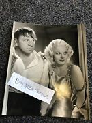 Rare Original Photo Of Wallace Beery And Jean Harlow Candid Black/white 8.5andrdquox7andrdquo