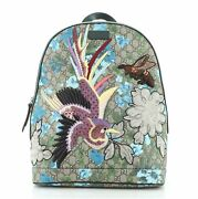 Zip Backpack Embroidered Printed Gg Coated Canvas Medium