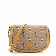 Disney Mickey Mouse Flap Shoulder Bag Printed Mini Gg Coated Canvas Small