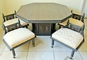 Antique/vtg 5pc Asian Carved Wood Inlaid Brass Coffee Table And 4 Chairs Stool Set