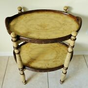 Beautiful Vintage Italian Florentine Hand Painted Wood 2 Tier Serving Tray Table