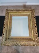 Antique Ornate Baroque Style Gold Gilt Gesso Frame And Mirror Andndash Large Andndash 33 X 29 In