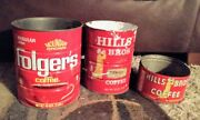 3 Vintage Cofee Cans - Hills Bros And Folgers - And Coffee Scoop - Advertising