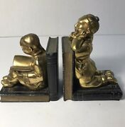 Antique Art Deco Art Metal Works Pair Bookends Asian Boy And Girl Rare