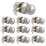 Probrico 10 Pack Privacy Door Knobs, Satin Nickel Bath Bed Lockset, Stainless And