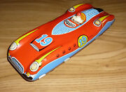 Vintage Wells Brimtoy - Tinplate Gyro Racing Car With Driver - Rare