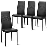 Kitchen Set Of 4 Dining Chair Pvc Leather Metal Base High Back