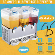 Commercial Beverage Dispenser For Soda Iced Tea Water Juice 3x4.75 Gal Pc Tanks