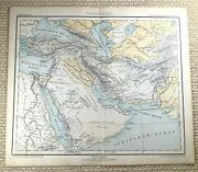 1882 Antique Map Of The Middle East Arabia Persia Egypt Old German 19th Century