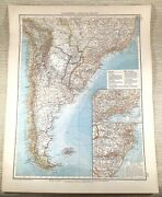 1906 Antique Map Of South America Brazil Peru Chile Old Large German Lithograph