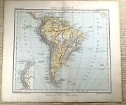 1882 Antique Map Of South America Brazil Chile Physical Venezuela German 19th C