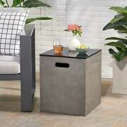 Propane Tank Hideaway Side Table Cover Patio Ceramic Top Fire Pit Accessories