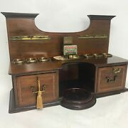 Antique English Pipe Stand Smoke Cabinet / Humidor With Locking Drawers