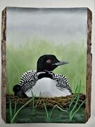 Hand Painted Loon And Chick On Live Edge Slabwood By Phyllis