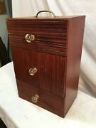 Vintage Wooden 3 Drawer Miniature Sewing Box With Glass Knobs