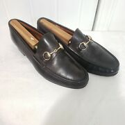 Vintage Menand039s Brown Horse Bit Loafers Shoes Sz 8.5 41.5 Made In Italy