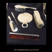 Antique And Co Sterling Silver 6pc Dresser Set Cordis Pattern
